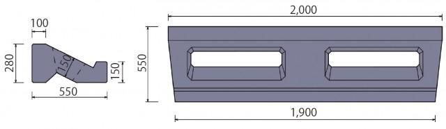 ポーラスけんちⅢ型 基礎ブロック形状寸法図