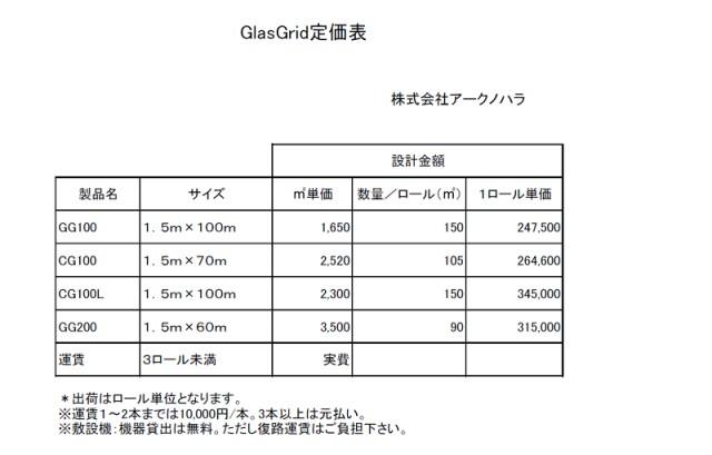 GlasGrid定価表